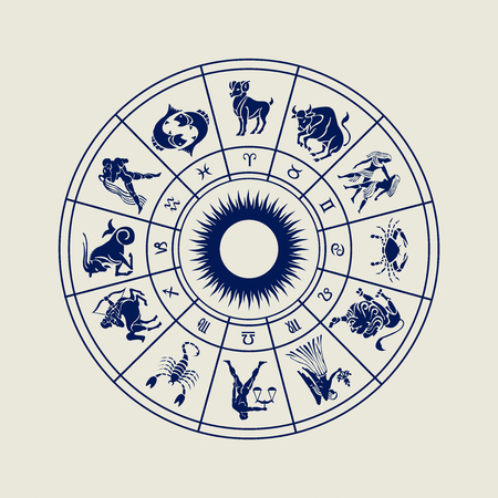 Horoscope wheel of zodiac signs with symbol 版權商用圖片 - 48794595