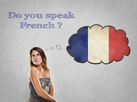 international students: Girl with flag say Do you speak French