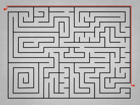 alternative: Grey complex labyrinth with alternative solution in red Stock Photo