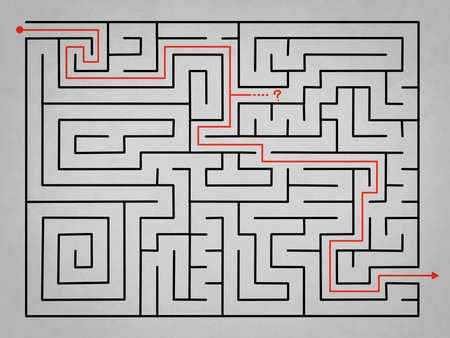 difficult decision: Grey complex labyrinth with alternative solution in red Stock Photo