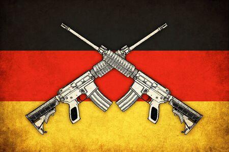 deutchland: Germany grunge flag background with guns illustration of war