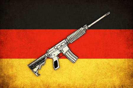 deutchland: Germany grunge flag background illustration with guns of war Stock Photo