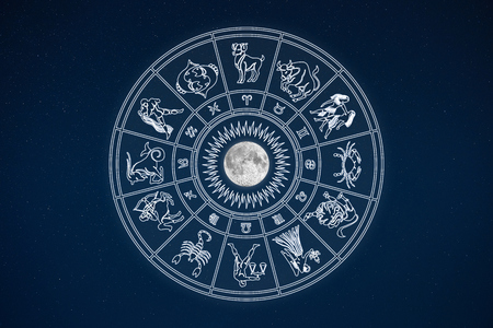 clairvoyant: Horoscope wheel of zodiac signs in dark sky with symbols