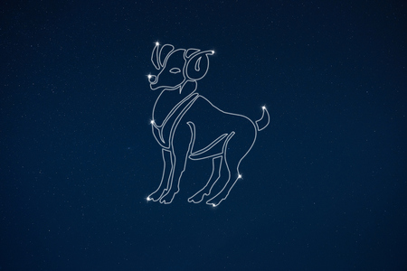 clairvoyant: Horoscope zodiac sign Aries in dark sky with stars Stock Photo