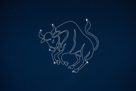 clairvoyant: Horoscope zodiac sign Taurus in dark sky with stars