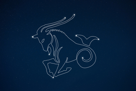esoterism: Horoscope zodiac sign Capricorn in dark sky with stars Stock Photo