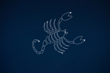 Horoscope zodiac sign Scorpio in dark sky with stars