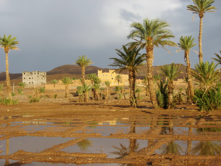 grey  sky: House in the desert  with rain and grey sky Stock Photo