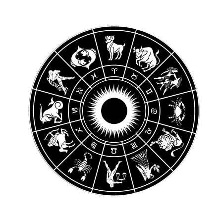 clairvoyant: Horoscope wheel of zodiac signs with symbol