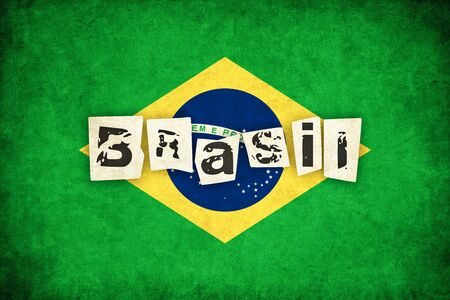 brasil: Brasil grunge background illustration of country with text Stock Photo