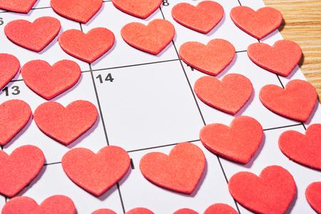 st  valentine: St Valentine day in agenda with red heart