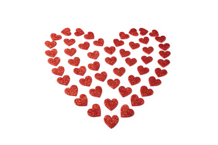st  valentine: Red heart for St Valentine day isolated on white background