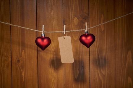 木製の壁に聖バレンタインの日装飾
