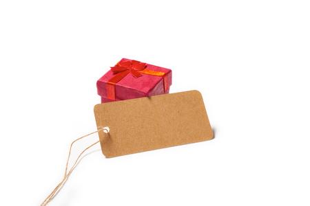白い背景に分離した聖バレンタイン日赤の贈り物 写真素材