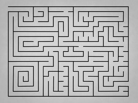 difficult decision: Complex empty grey labyrinth without solution for business Stock Photo