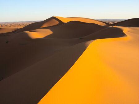 duna: Dunas de arena en el desierto con el cielo azul