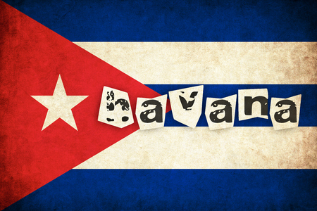 キューバ グランジ フラグ テキストを持つ国のイラストを背景します。 写真素材