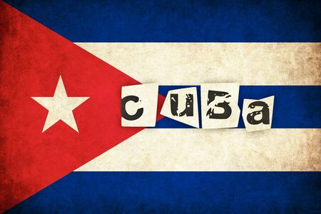 havana cuba: Cuba grunge flag background illustration of country with text