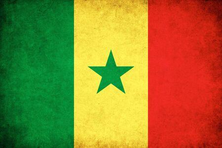 セネガル グランジ フラグのアフリカの国のイラストを背景します。 写真素材