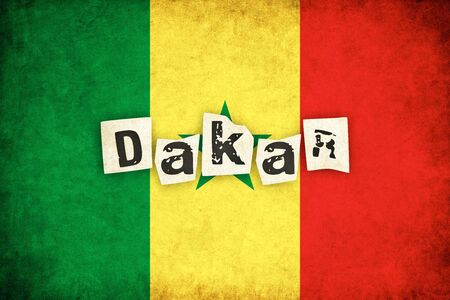 dakar: Senegal grunge flag background illustration of african country with text