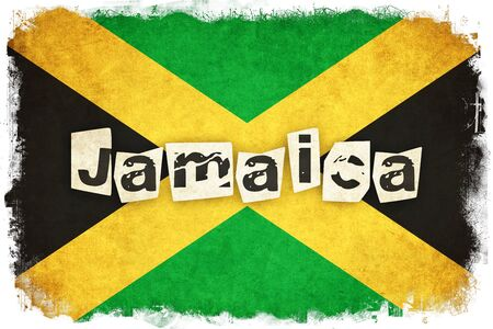 kingston: Jamaica grunge flag background illustration of country with text