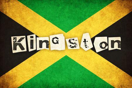 ジャマイカ グランジ フラグ テキストを持つ国のイラストを背景します。