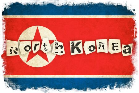 pyongyang: North Korea grunge flag background illustration of asian country with text Stock Photo