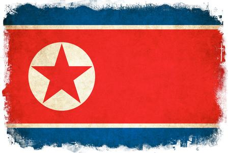 北朝鮮グランジ フラグはアジアの国のイラストを背景します。 写真素材