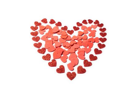 バレンタインデー赤いハートの装飾が白い背景で隔離