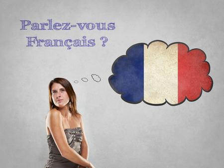 フラグを持つ少女は、フランス語を話すと言う 写真素材