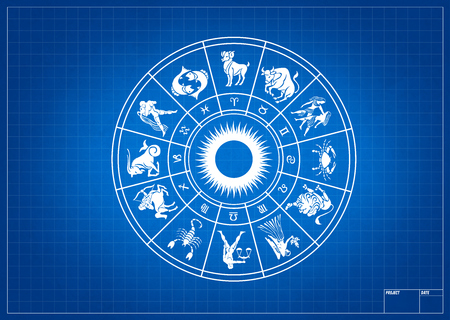 zodiac signs: Horoscope wheel of zodiac signs with symbol