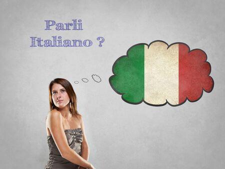 イタリア語を話すことを言ってフラグを持つ少女