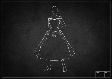 プロジェクトの黒板白ファッション スケッチ