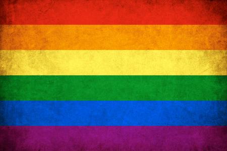 グランジ虹の旗の背景のゲイとレズビアンのイラスト