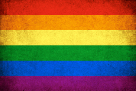 lesbians: Grunge Rainbow flag background illustration of gay and lesbian Stock Photo