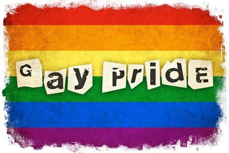 グランジ虹色の旗の背景のゲイとレズビアン本文イラスト