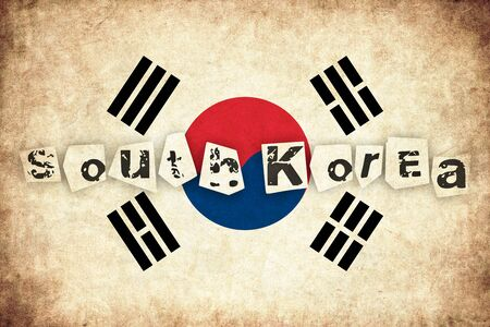 south asian: South Korea grunge flag background illustration of asian country with text