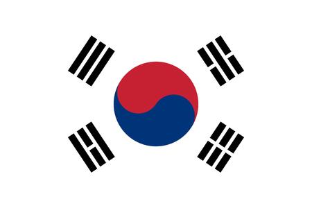 韓国旗のアジアの国のイラストを背景します。