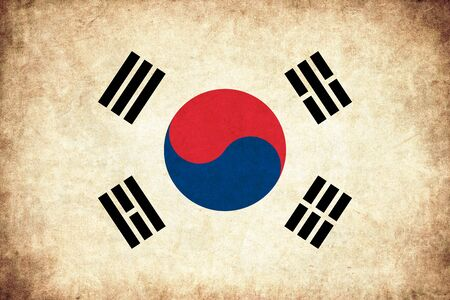 south asian: South Korea grunge flag background illustration of asian country