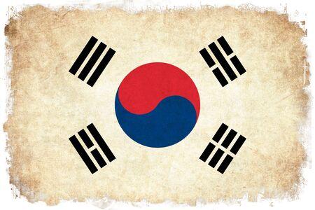韓国グランジ フラグはアジアの国のイラストを背景します。
