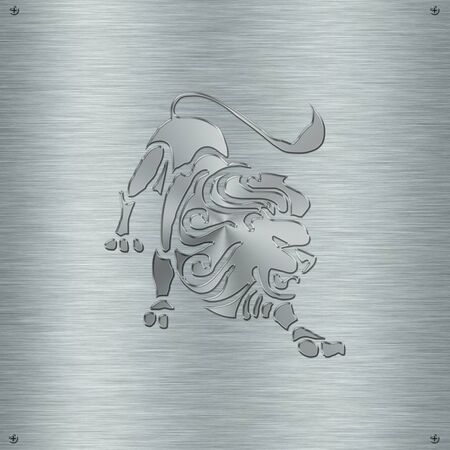 esoterism: Horoscope zodiac sign Leo in aluminium plate