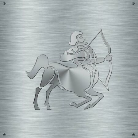 esoterism: Horoscope zodiac sign Sagittarius in aluminium plate Stock Photo
