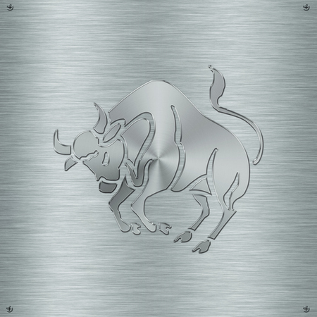 clairvoyant: Horoscope zodiac sign Taurus in aluminium plate Stock Photo