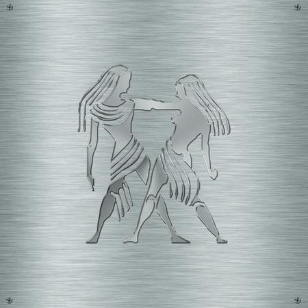 clairvoyance: Horoscope zodiac sign Gemini in aluminium plate