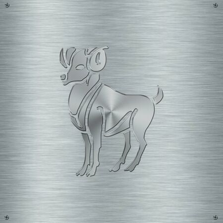 clairvoyance: Horoscope zodiac sign Aries in aluminium plate