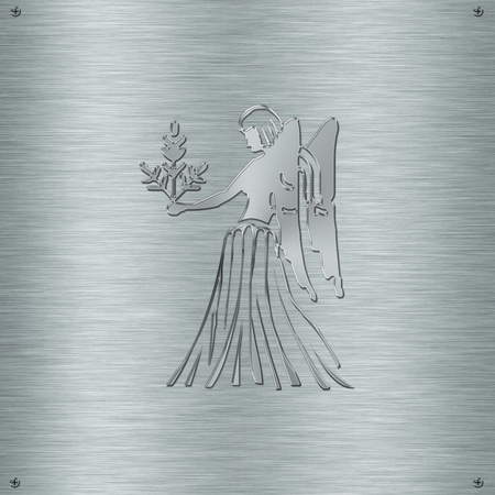 psychic: Horoscope zodiac sign Virgo in aluminium plate Stock Photo
