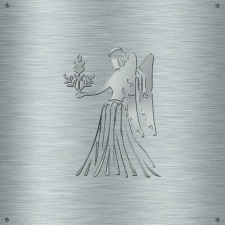 predict: Horoscope zodiac sign Virgo in aluminium plate Stock Photo