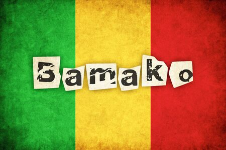 bamako: Mali grunge flag background illustration of african country with text