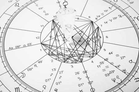 Pendolo di cristallo con ruota dello zodiaco per l'astrologia Archivio Fotografico