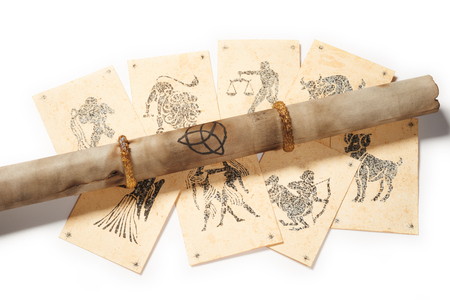 clairvoyance: Old parchment with zodiac card for clairvoyance